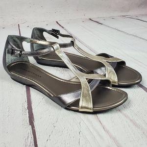 Dana Buchman Bria womens silver flat sandals